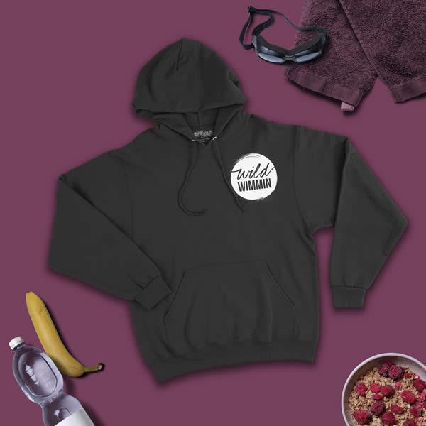 wild wimmin hoodie black