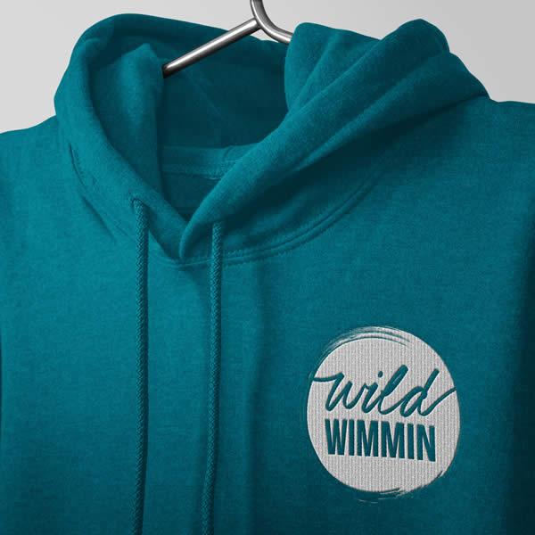 wild wimmin hoodie jade close up