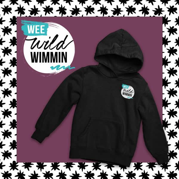 wee wild wimmin black hoodie