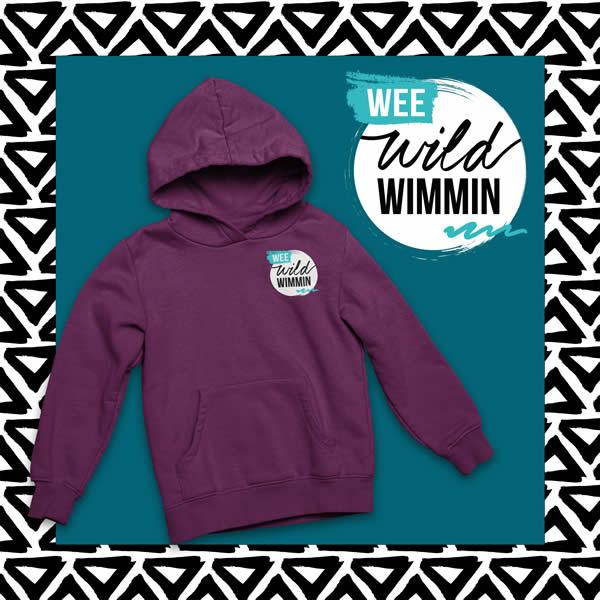 wee wild wimmin plum hoodie